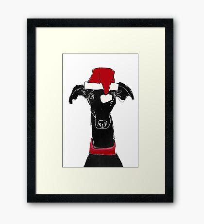 greyhound xmas Framed Print