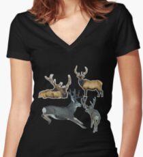 Bull elk and buck deer 17 Women's Fitted V-Neck T-Shirt