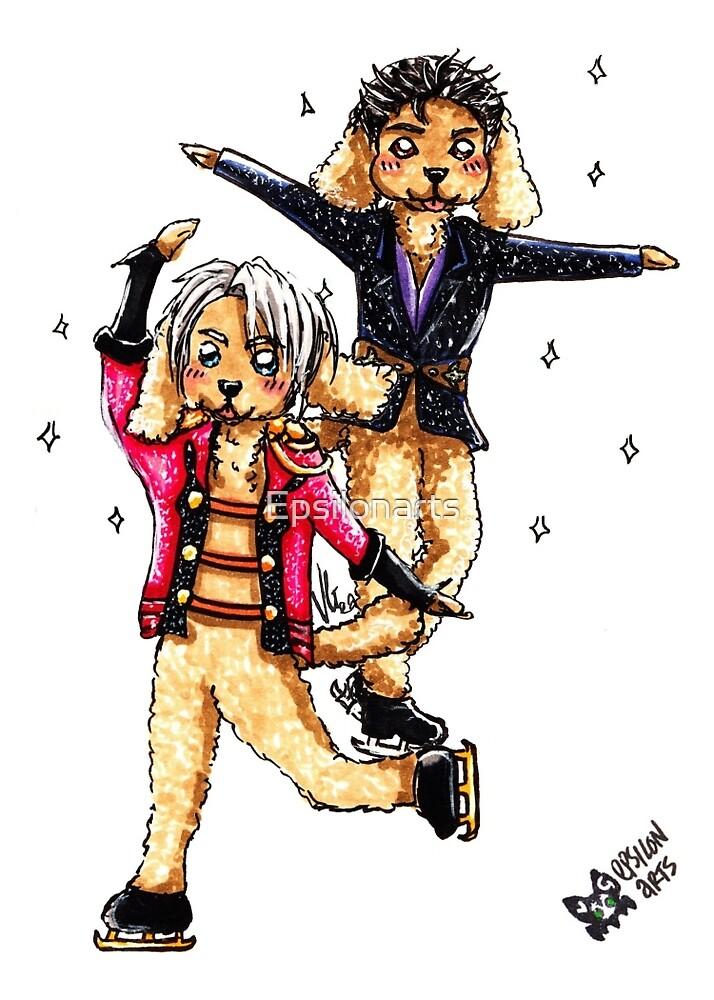 Makkachin Yuri & Victor by Epsilonarts