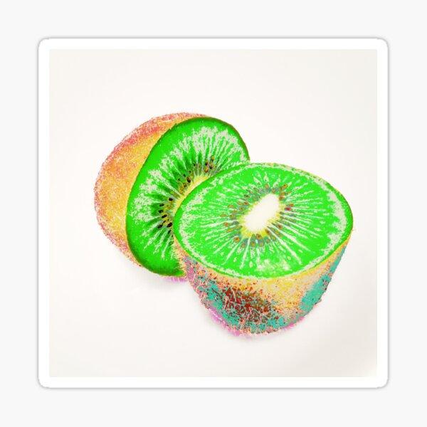 Kiwilicious - Neon Green Kiwi Fruit Photo Art Sticker