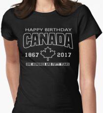 Happy Birthday Canada 150 Anniversary Womens Fitted T-Shirt