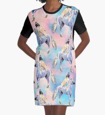 Pug Riding a Unicorn Graphic T-Shirt Dress