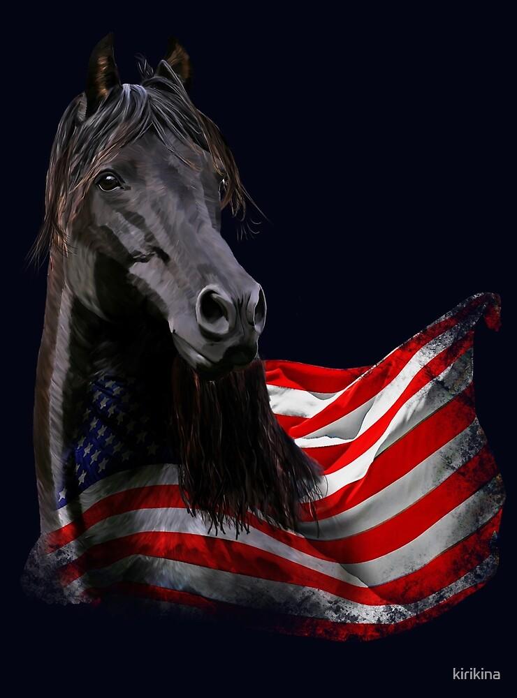 black Morgan Horse stallion with America USA flag by kirikina