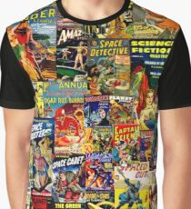 Sci-Fi Comic Collage Graphic T-Shirt