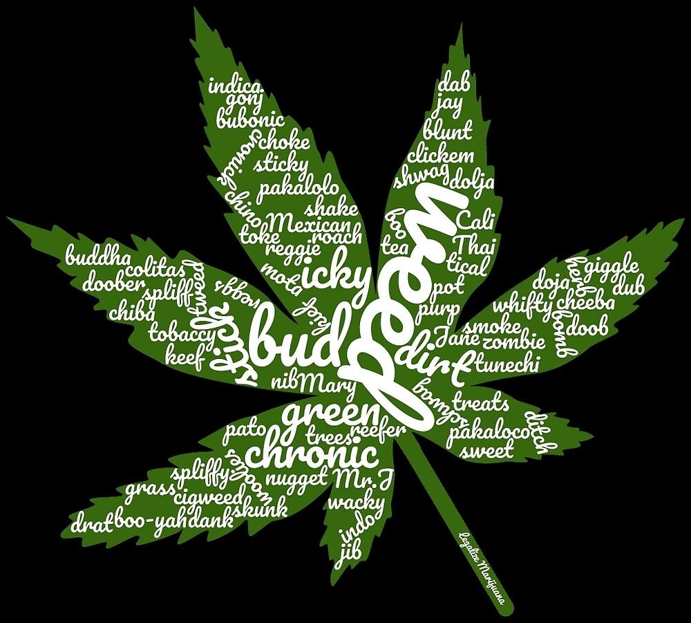 Marijuana Leaf with Many Names by MarijuanaTshirt