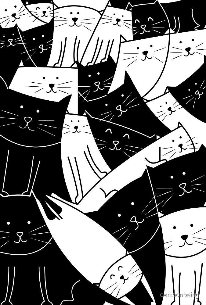 The Cats are Watching B/W by cartoonbeing