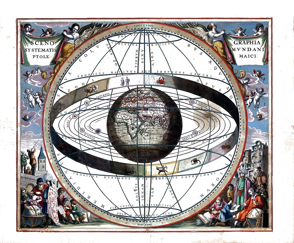 Vintage Astronomical Ptolemaic System Cosmology by pdgraphics