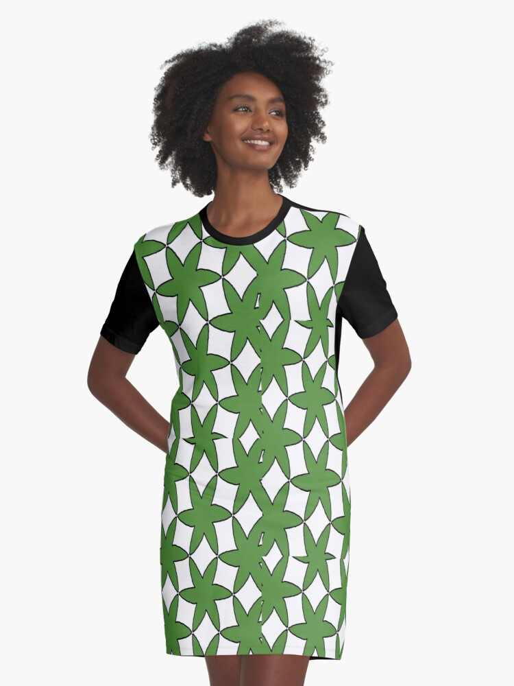 Leafy Green Graphic T-Shirt Dress Front