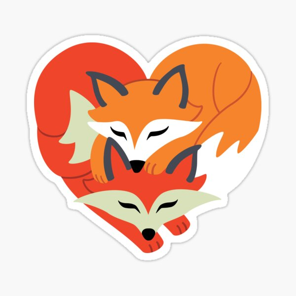 Cute Fox Love | Heart Silhouette Sticker