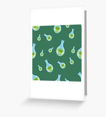 seamless pattern with flasks on a green background Greeting Card