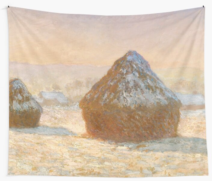 Wheatstacks, Snow Effect, Morning by Claude Monet by VintageArchive