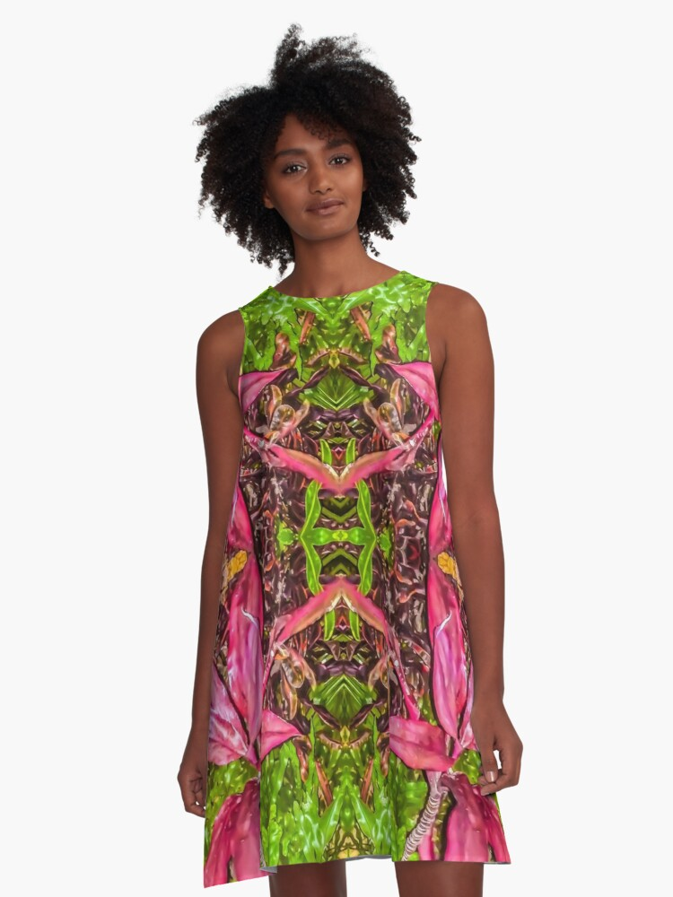 Hawaii Plant Series - Pink and Green A-Line Dress Front