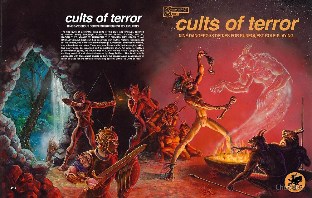 Cults of Terror - front & back cover by Chaosium