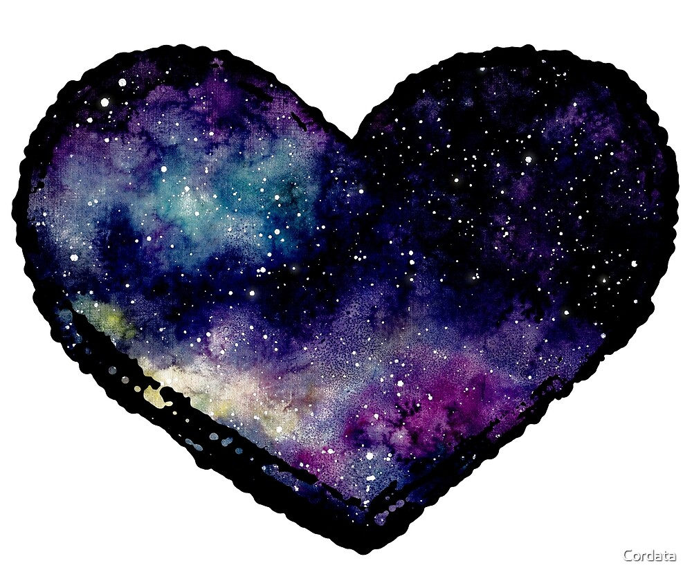 Watercolor Starry Sky and Heart by Cordata
