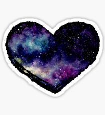 Watercolor Starry Sky and Heart Sticker