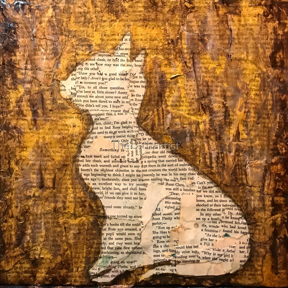 Vintage paper cat profile by Thecathartist
