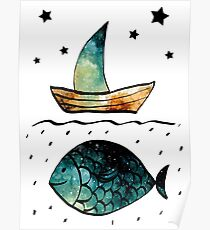 Watercolor Starry Sky, Fish and Sail Boat Poster