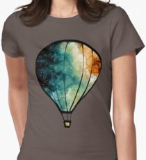 Watercolor Stars, Galaxy and Air Balloons Womens Fitted T-Shirt