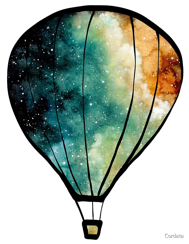Watercolor Stars, Galaxy and Air Balloons by Cordata