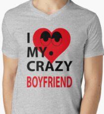 I LOVE MY CRAZY BOYFRIEND Mens V-Neck T-Shirt