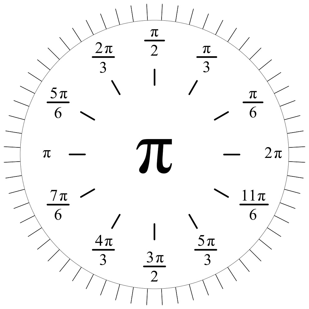 Pi Radians Clock face - Unit Circle v001 by Rupert Russell