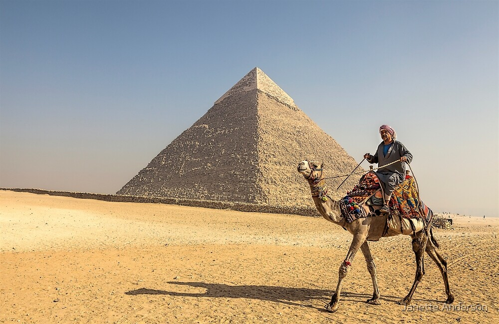 Camel and Rider Walking past the Pyramids by Janette Anderson
