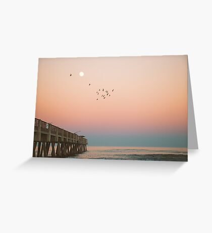 Florida Sunset Over Pier Greeting Card