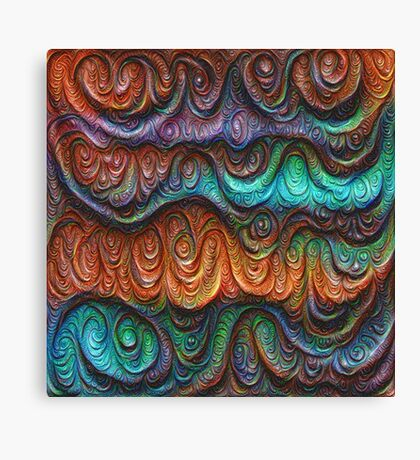 Frozen forest liquid lines and waves #DeepDream Canvas Print