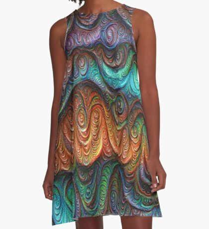 Frozen forest liquid lines and waves #DeepDream A-Line Dress