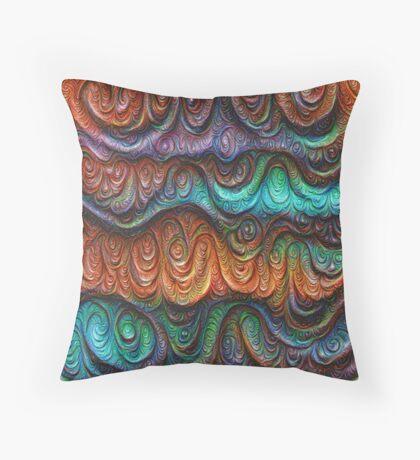 Frozen forest liquid lines and waves #DeepDream Throw Pillow