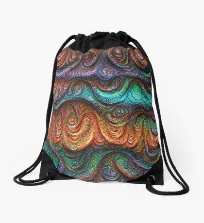 Frozen forest liquid lines and waves #DeepDream Drawstring Bag