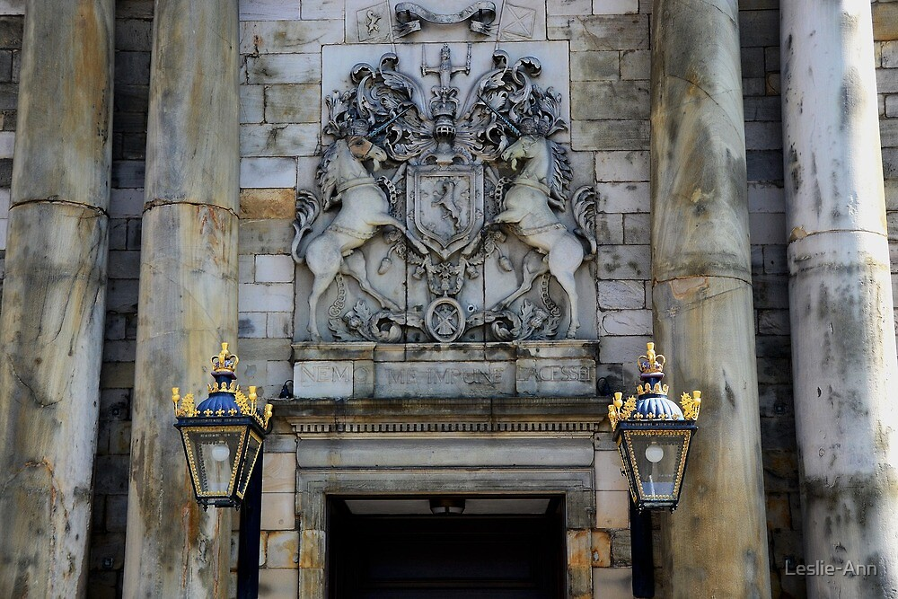 HOLYROOD PALACE - SCOTLAND - Forecourt Entrance by Leslie-Ann