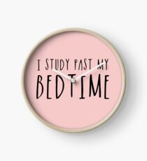 I Study Past My Bedtime (Pink) Clock