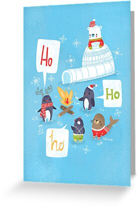 Penguins & Igloos Holiday Card by SillyHilli