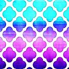Cobalt Blue, Hot Pink & Mint Watercolor Moroccan Pattern by Tangerine-Tane