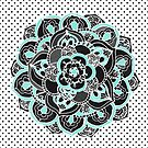 Mint & Charcoal Mandala Flower on Black Polka Dots by Tangerine-Tane