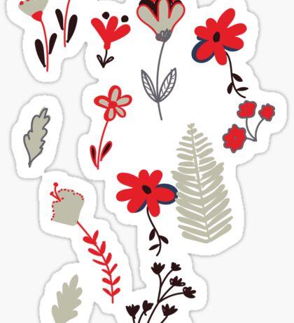 Red Vintage Floral Pattern Sticker