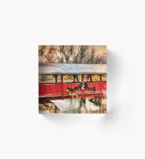 Gardner Village - Little Red Bridge Acrylic Block