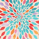Radiant Dahlia - teal, orange, coral, pink watercolor pattern by Tangerine-Tane