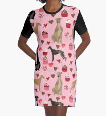 Greyhound valentines day cupcakes and hearts pet portrait custom dog person gifts greyhounds Graphic T-Shirt Dress