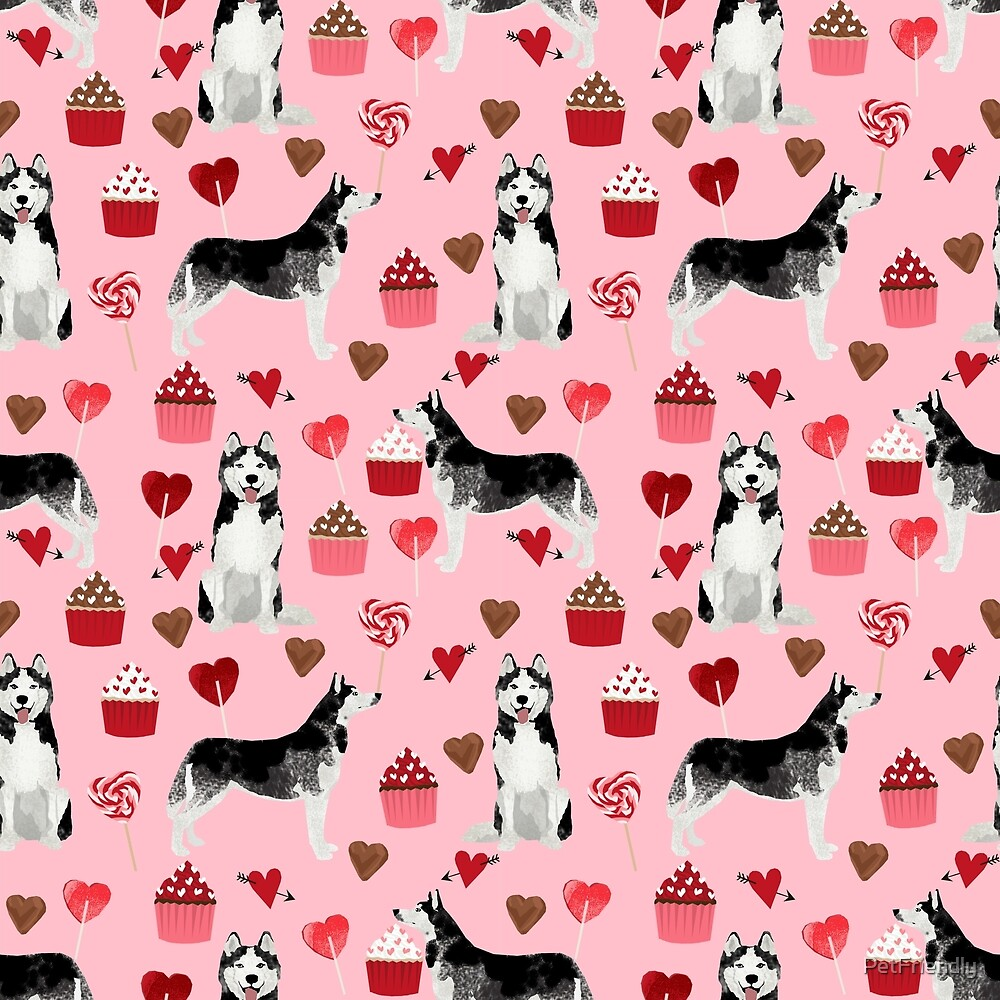 Husky Siberian Huskies dog breed valentines day love pattern print by pet friendly for dog person by PetFriendly