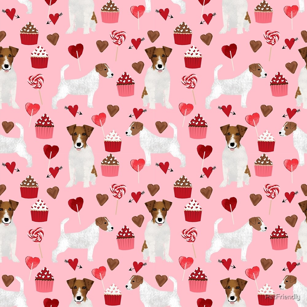Jack Russell Terrier valentines day cupcakes and hearts love pattern gifts for dog lovers by PetFriendly by PetFriendly