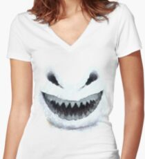 Doctor Who - Evil Snowman Women's Fitted V-Neck T-Shirt