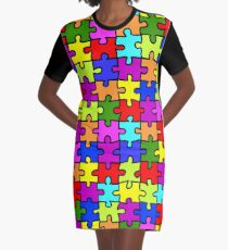 Colorful rainbow jigsaw puzzle pattern Graphic T-Shirt Dress