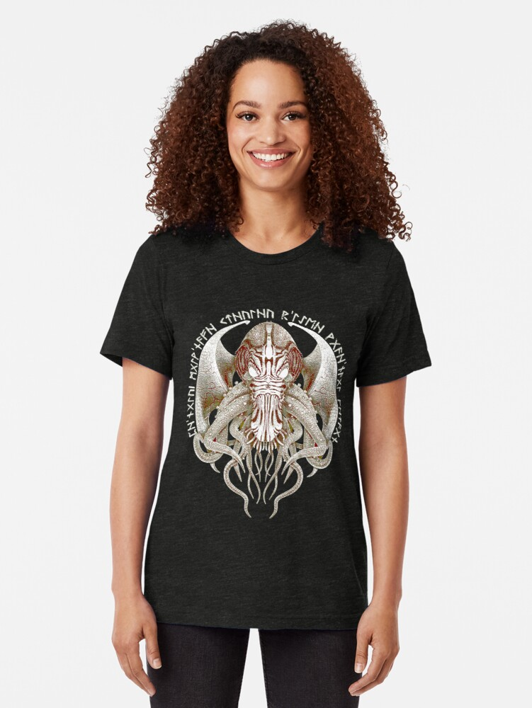 Alternate view of Cthulhu Got Wings Steampunk T-Shirts Tri-blend T-Shirt