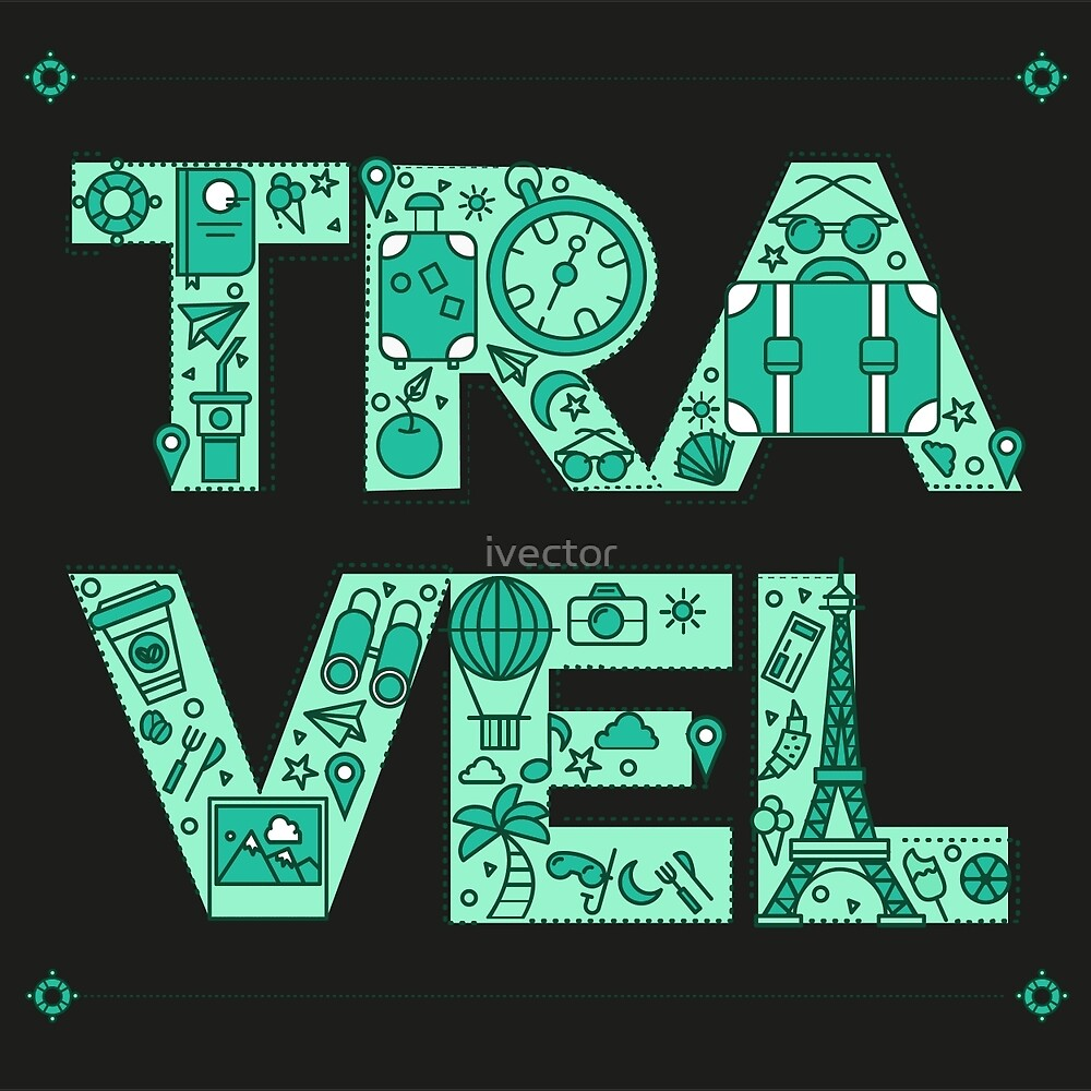 Time to Travel. Retro Lettering with Outline Style Travelling Elements by ivector
