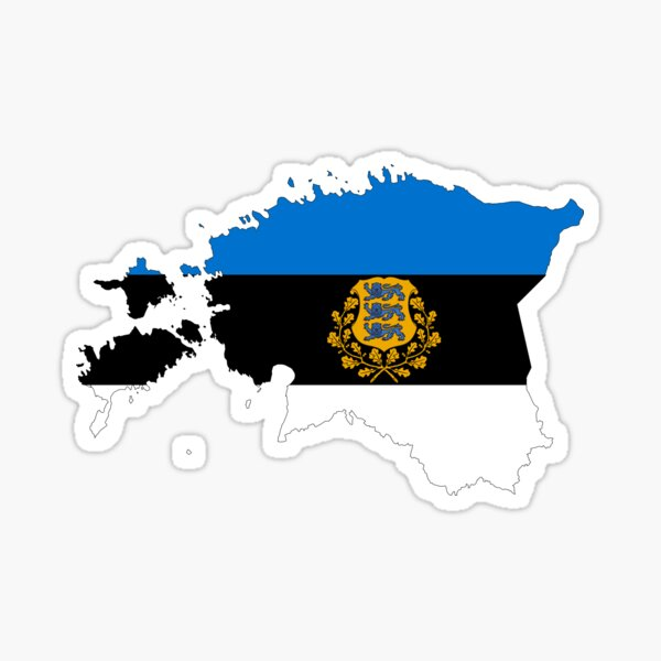 Estonia Flag Map with Coat of Arms Sticker