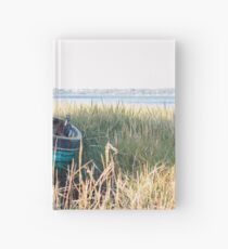 Turquoise boat at Pin Mill Hardcover Journal