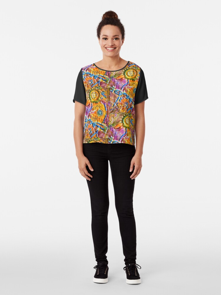 Alternate view of COLORFUL FANTASY BIRD Chiffon Top