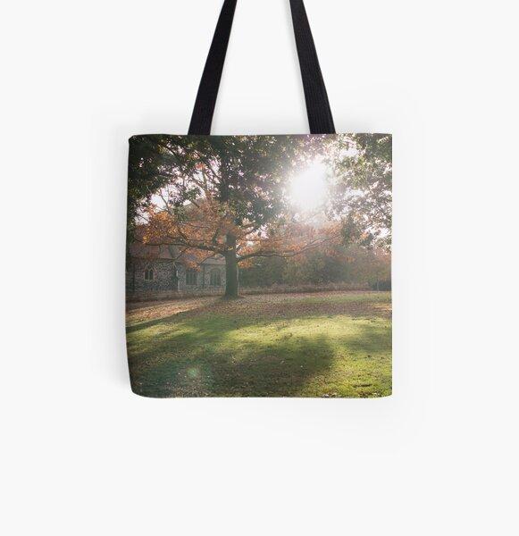Sunlit autumn scene All Over Print Tote Bag